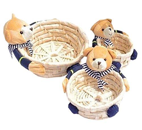 Sailor Bear Wicker Straw Basket Storage Box Household Basket Box Gift