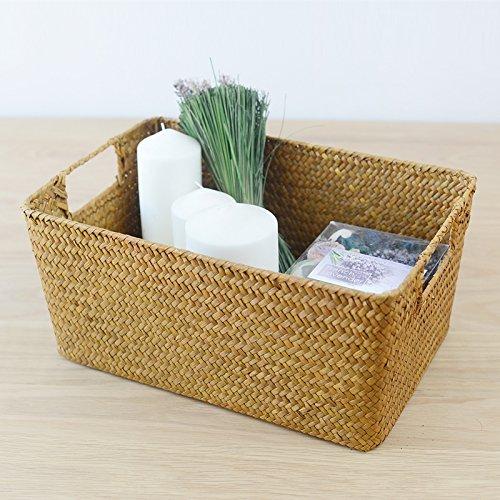 Hand-woven hollow handle receive the cane makes up straw basket box bin bin rural wind Wicker Crafts