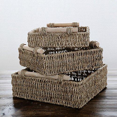 Japanese Aquatic Weeds Storage Baskets Wooden Handgrip square Storage Box Straw Basket M