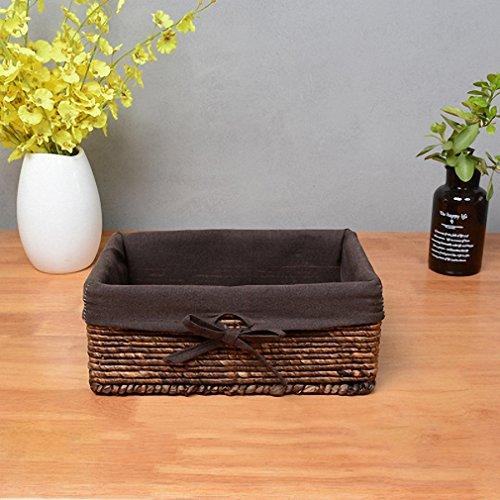 Natural Woven Straw Basket Organizer With Liner Decorative Corn Leaves Desktop Baskets coffee linen