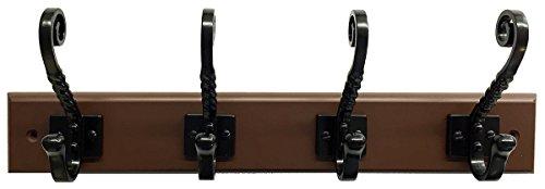 Headbourne 8046E 18 Dark Brown Hook Rail  Coat Rack with 4 Black Nickel Double Hooks