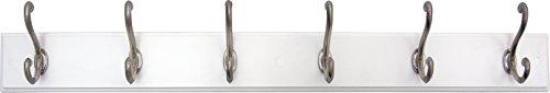 Headbourne 93785 Hook RailCoat Rack with 6 Satin Nickel Hooks White Board