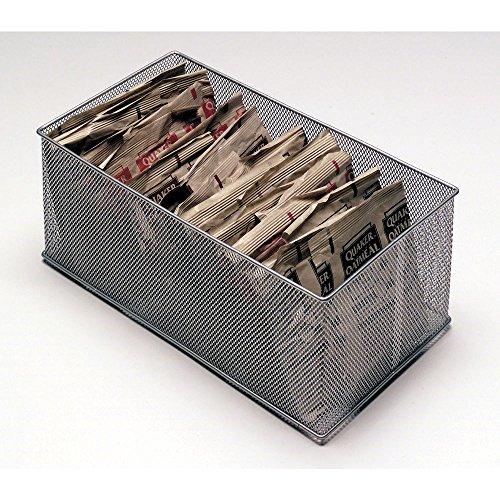 Silver Wire Mesh Storage Basket - 12L x 6W x 5H