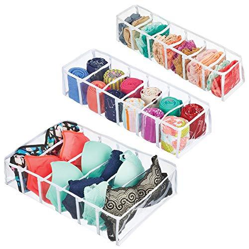 mDesign Rectangular Plastic Dresser Drawer Divider and Closet Storage Organizers for Lingerie Bras Socks Underwear Tights Leggings Scarves Ties Set of 3 - ClearWhite