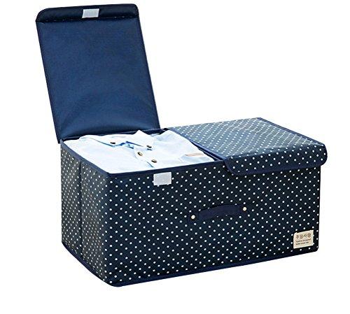 NAGU Storage Closet Organizer Foldable Storage BagClothes Blanket Sweater Organizer Box Charcoal Navy