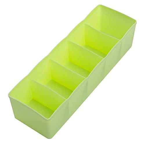 Acamifashion 5 Cells Plastic Storage Box Underwear Drawer Organizer - Green