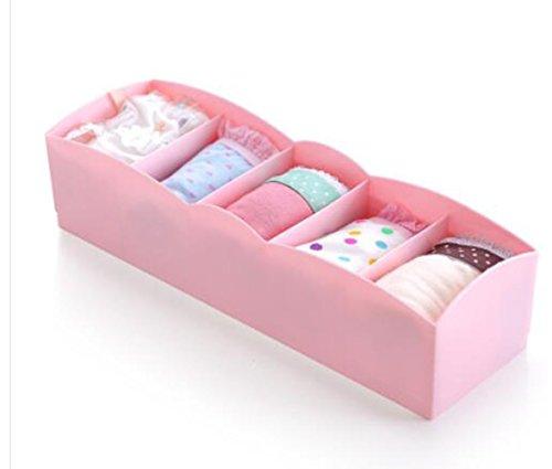 Top Estore 3 Pcsset 5 Cell Drawer Dividers Organizers Braunderwearsocks Plastic Storage Boxes Pink