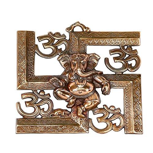 CraftVatika God Ganesha Om Swastik Metal Wall Hanging Art  Spiritual Home Decor Idol Sculpture