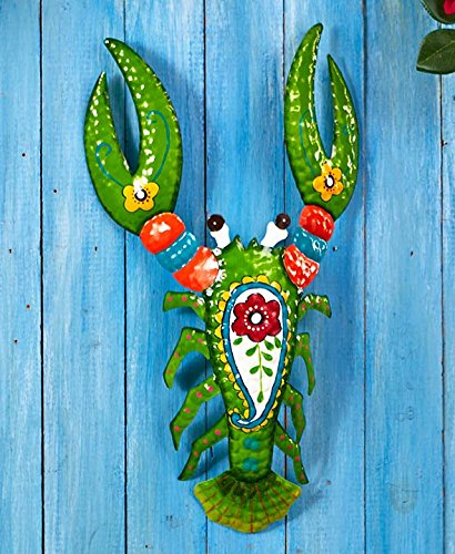 Set of 3 Bright Tropical Metal Wall Hangings - Lobster Parrot Fish