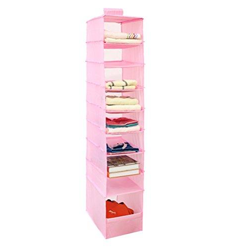 OUNONA Home Hanging Clothes Storage Box Hanging Shelves Closet Cubby Sweater Handbag Organizer