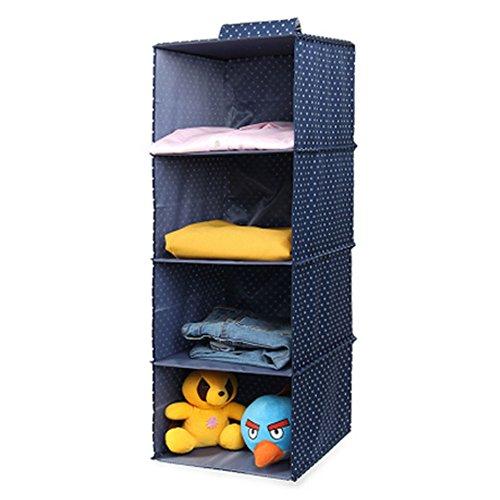 Phoenix Wonder Durable Hanging Clothes Storage Box Home Decor Organizer 4 ShelfDotBlue