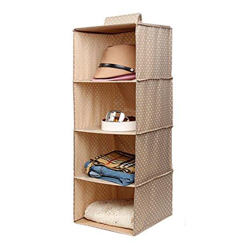 Phoenix Wonder Durable Hanging Clothes Storage Box Home Decor Organizer 4 ShelfDotKhaki