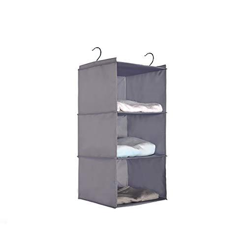 Zentto Home Hanging Closet Organizer-3 Shelf Hanging Clothes Storage Box Organizer Shelf Sweater Large Capacity Oxford Cloth Closet Organizer-Gray