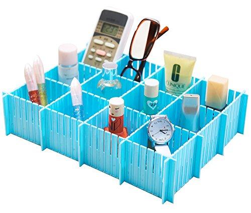6PCS DIY Plastic Storage Cabinet Drawer Divider Partition Middle Size Blue