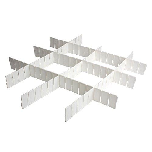 Andux Land 6pcs DIY Drawer Divider Plastic Adjustable Storage Organizer White CTFGB-01