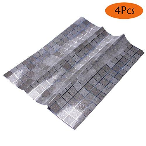 WHOSEE 4-Pack Mosaic Tile Anti Oil Aluminum Foil Wallpaper Kitchen DIY Drawer Sticker Grey