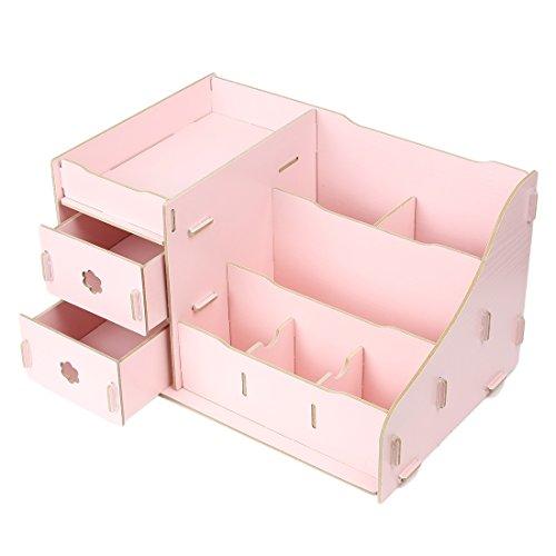 Wooden Cosmetic Makeup DIY Drawers Storage Box Case Organizer Pink