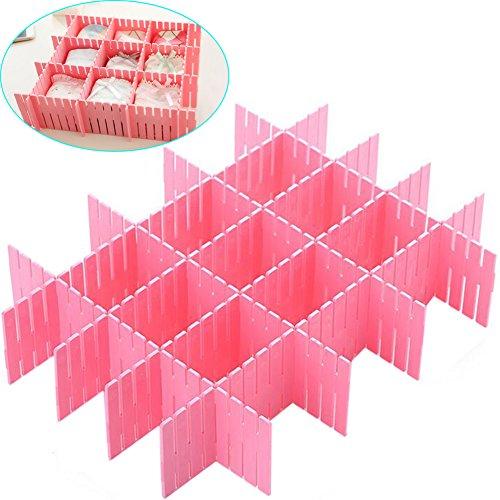 ZZ Lighting 8 Pcs Plastic DIY Grid Drawer Divider Finishing Shelves for Home Tidy Closet Makeup Socks Underwear Kitchenware Pink