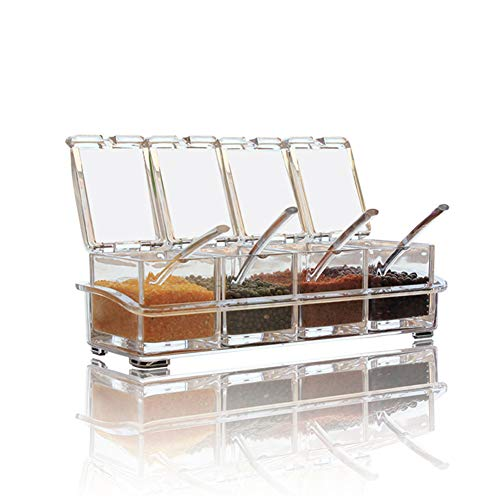 V-Resourcing Clear Seasoning Box 4 Pieces Clear Seasoning Storage Container for Spice Salt Sugar CruetCondiment Jars with Spoons