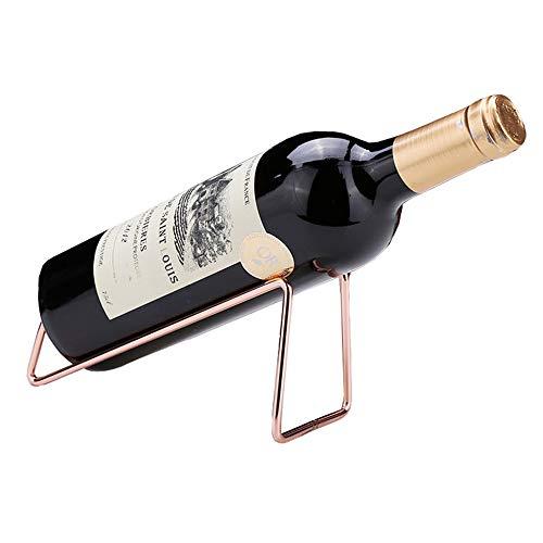 CdyBox Creative Metal Red Wine Rack Single Wine Bottle Holder Rack Display for Home Living Room Wine Rack Rose-Gold