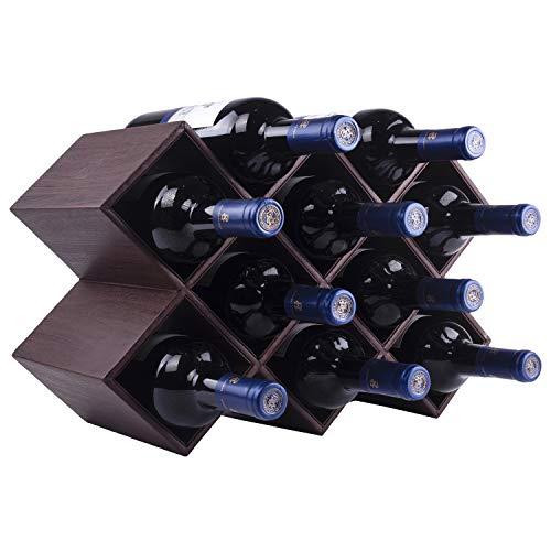 Kaydian Koncepts Countertop Wine Rack - 10 Bottle Decorative Tabletop Wine Bottle Holder - Bamboo Brown