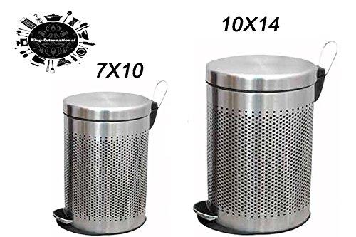 King International Stainless Steel Plain Perforated Pedal DustbinGarbage BinOffice BinWaste Bin 511 L