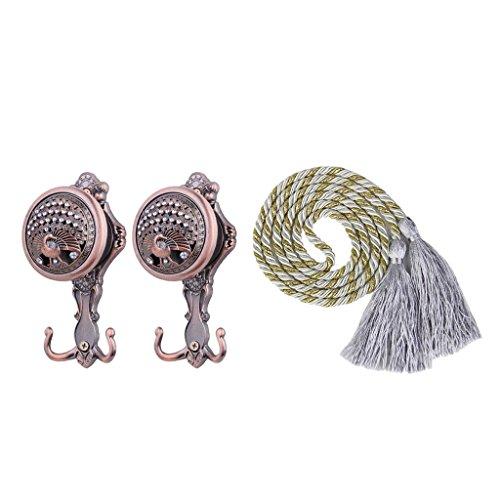 Jili Online Pair Tassle Ropes Curtain Tie Backs and Peacock Curtain Drape Hangers Hook