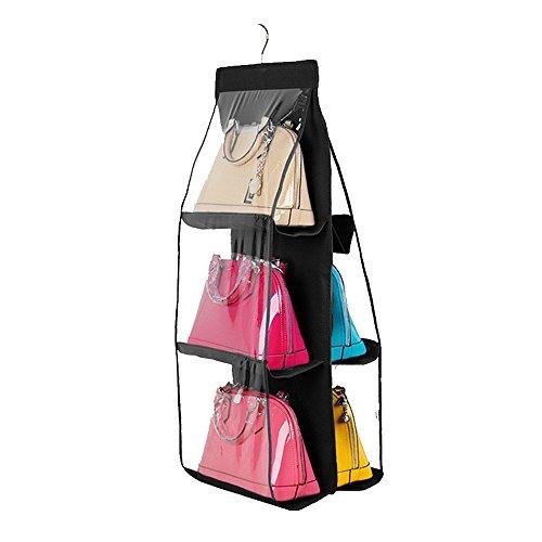 Saumota 6 Pockets Clear Anti-dust Cover Save Space Hanging Handbag Organizer Purse Holder Storage Bag For Closet-Black