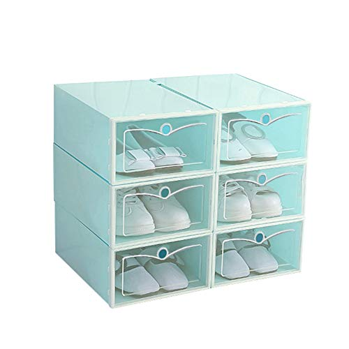 Lennvan Shoe-Boxes-Clear-Plastic,Shoe Box for Women and Men Size,Foldable Stackable Storage Shoe Container Closet Shelf Shoe Organizer WhiteBluePink