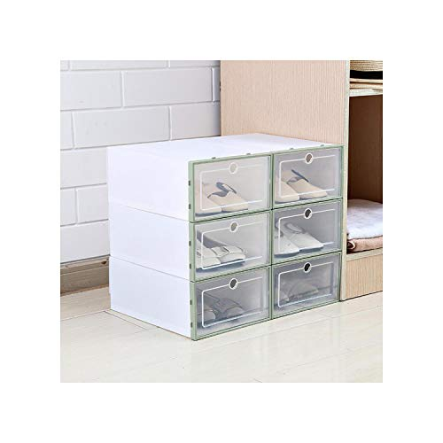 ruoruo 3 Pcs Thickened Foldable Shoe Storage Boxes Stackable Organizer Clear Plastic Shoe Box Home Shoe RackGreen