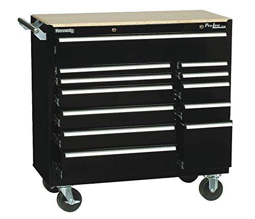 Kennedy 10495BK Black Pro-Line Series Rolling Cabinet 41-38 x 20 x 42 12 Drawers