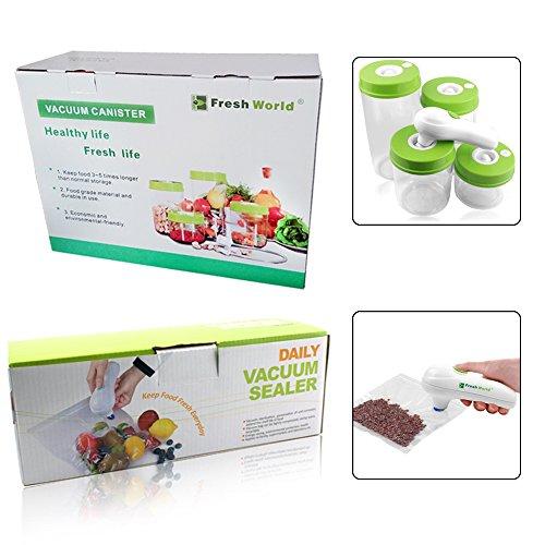 Keynew Handheld Vacuum Sealer System Food Storage Saver with 4 Vacuum Jars and 5 Vacuum Zipper Bags