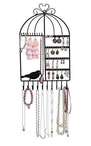 Arad Vintage Inspired Birdcage Wall Mount Jewelry Organizer Holder Black