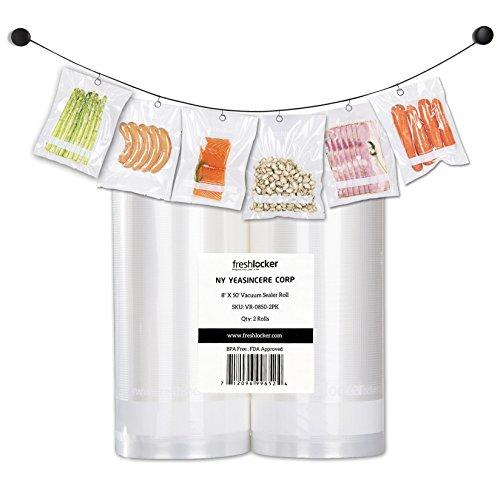 Freshlocker Food Saver Vacuum Sealer Bags  4 Mil 2 Roll 8x50 Commercial Grade Bag Rolls for Foodsaver  Sous Vide