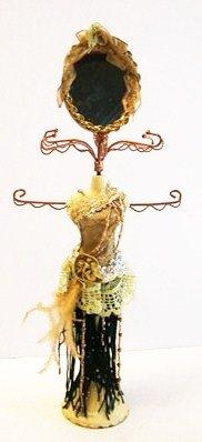 Brown Dress Mannequin Jewelry Organizer with Mirror