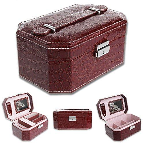 Xu Jieteenager Jewelry Box Organizer PU Leather Double Layers Mirror jewelry Dispplay Holder Red Dates