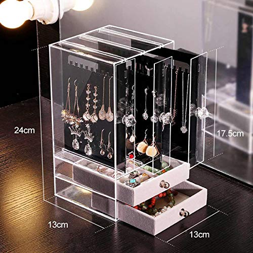 Rings Gift Box Acrylic Jewelry Storage Drawer Box Earrings Display Stand Rack Necklace Bracelet Organizer Case Transparent Dustproof Ring TrayB