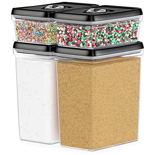 DWËLLZA KITCHEN Large Airtight Food Storage Containers - Bulk Food Pantry Kitchen Storage Containers for Sugar Flour and Baking Supplies - 4 PC Set Clear Plastic BPA-Free Keeps Fresh Dry