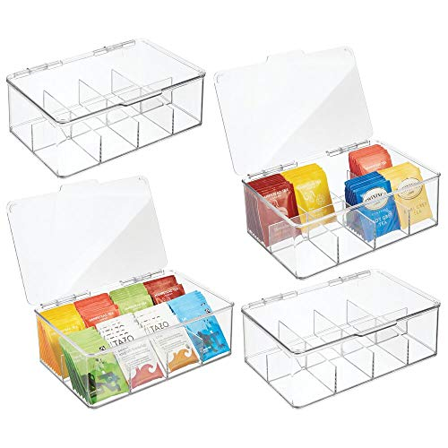 mDesign Stackable Plastic Tea Bag Holder Storage Bin Box for Kitchen Cabinets Countertops Pantry - Organizer Holds Beverage Bags Cups Pods Packets Condiment Accessories - 4 Pack - Clear