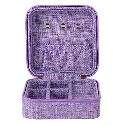 Cimenn Earring Storage Box Travel Linen Jewelry Box Organizer Display for Ear Stud Ring Necklace Holder Small Jewelry Holder Gift Case Valentines Day Mothers Day Birthday Gifts for HerPurple
