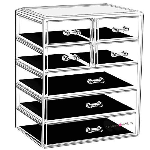 DreamGenius Makeup Organizer Acrylic Cosmetic with 7 Storage Drawers and Jewelry Display Box