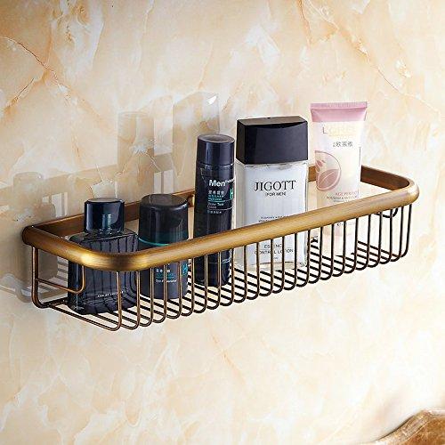 Beelee Wall Mounted 1772 Inch Bathroom Shower Caddy Bath Rectangular Storage Basket Shelf Antique Brass Finish