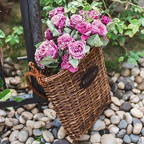 Handmade Wicker Weave Hanging Basket Wall-mounted Storage Basket Wall Decoration Retro Simple Flower Baskets  Size  Small