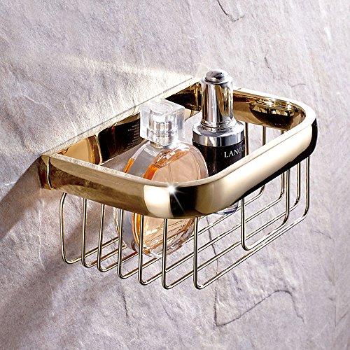 Leyden Gold Finish Solid Brass Bathroom Shelf Paper Holder Wall Mounted Rectangle Storage Basket Organizer