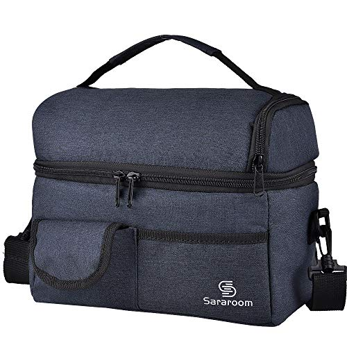 Sararoom Insulated Lunch Bag for Women Men Adults Reusable Lunch Box with Shoulder Strap Water-Resistant Leakproof Cooler Lunch Tote Bag for Work Office School Outdoor Travel Picnic 6L