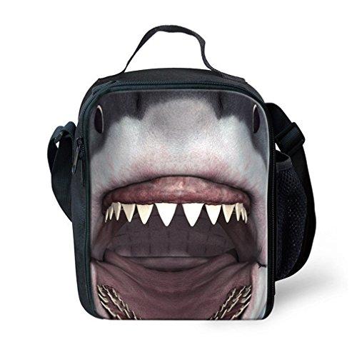 XMCOWAYOU Kids Lunch Bag 3D Animal Printing Travel School Lunch Box Shark