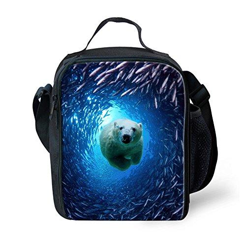 Youngerbaby Print Shark Lunch Bag Neoprene Food Picnic Bags For Teen Girls Boyes Women