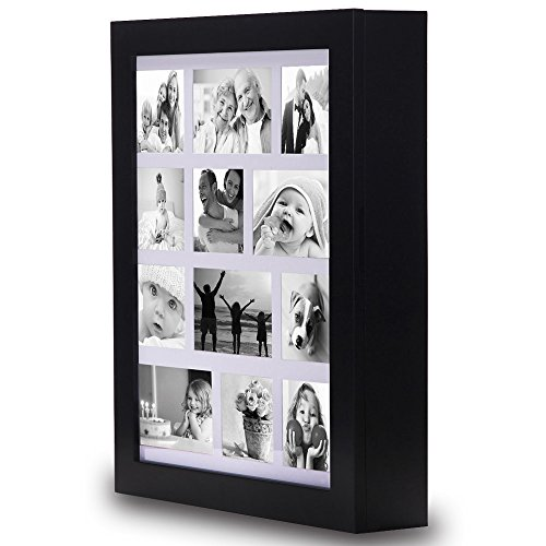 Ikee Design Jewelry Cabinet Photo Frame Wall Mounted Jewelry Armoire Organizer with Mirror Black