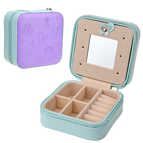 Goldwheat Small Jewelry Holder Box Travel Jewelry Box Organizer Case with Mirror and Zipper for Rings Earrings Necklace PU Leather Travel Display Storage Case Purple