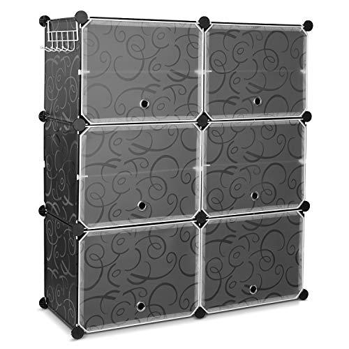 HOMFA 10 Cube Shoe Rack DIY Cubes Storage Organizer Multiuse Modular Closet Plastic Cabinet with Doors and Extra Hooks for Entryway Hallway Living Room